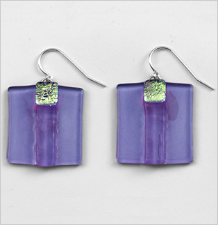 Amethyst Striped Square Earrings