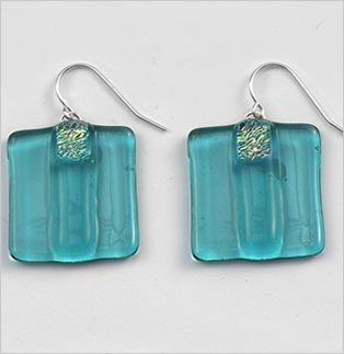 Aquamarine Striped Square Earrings