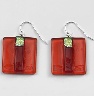 Flame Striped Square Earrings