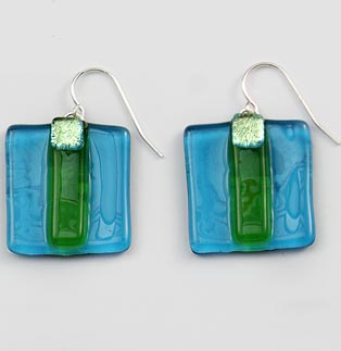 Island Blue Striped Square Earrings