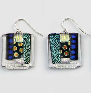 MardiGras Striped Square Earrings