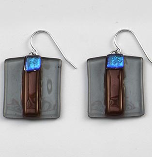 Mink Striped Square Earrings